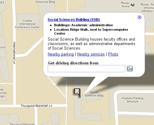 Map of the Social Science Building at UC San Diego